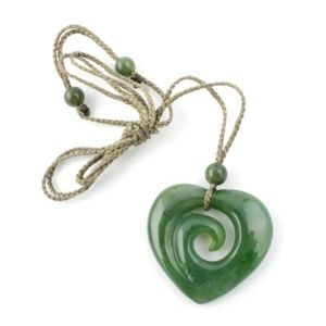 Nephrite Jade Koru Heart Pendant with Necklace